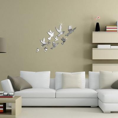 Qoo10 - 1 Sheet Acrylic Birds Wall Stickers 3D Mirror Wall Decal Art ...