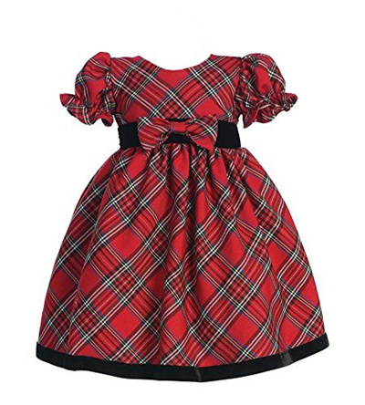 Qoo10 - ▷$1 Shop Coupon◁ Plaid Holiday/Christmas Baby Dress with Velvet Trim : Baby & Maternity