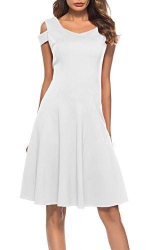 3afd156d95d6c Qoo10 - ▷ 1 Shop Coupon◁ Womens Cold Shoulder Short Sleeve Dress V Neck Off  T...   Women s Clothing