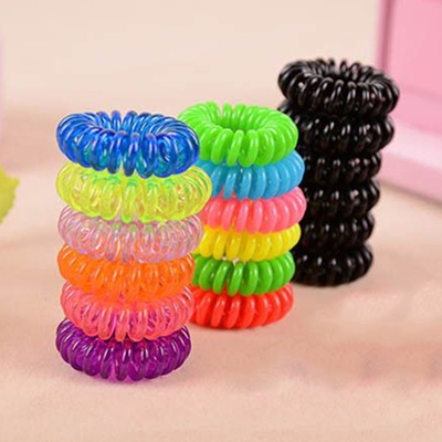 10 Pcs Spiral Plastic Hair Bands Baby Girls Ponytail Stretchy Elastic Band 9c94e8bd403