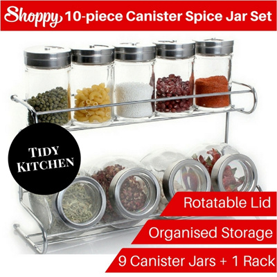 Qoo10 10 piece canister spice jar set kitchen storage for Qoo10 kitchen set