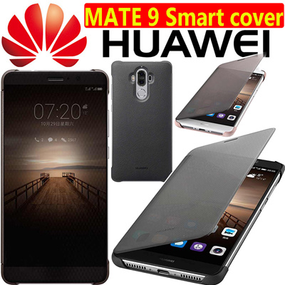 new style 98393 b6c94 100% Authentic HUAWEI Mate 9 Pro Case Smart Window Flip Leather Cover Free  Glass screen protector