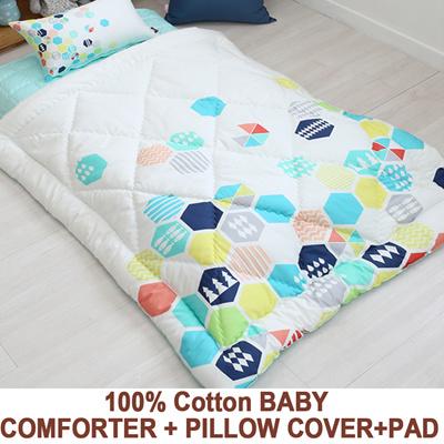 qoo10 100 cotton baby comforter pillow cover pad set infant toddler bl bedding. Black Bedroom Furniture Sets. Home Design Ideas