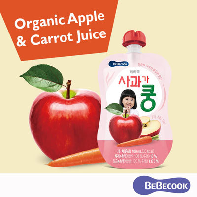 [100% Organic] BeBecook Apple and Carrot Juice / 7 months up / Bundle of 3  / Other Flavors Available