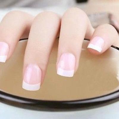 100pcs French Half Nail Tips False Acrylic White Decor Color