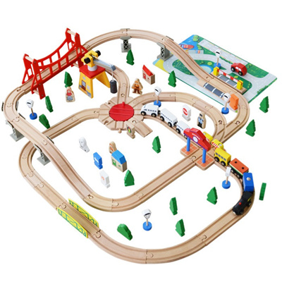 Qoo10 100pcs Lot Wooden Train Switch Track Set With Circular Turntable Educa Toys