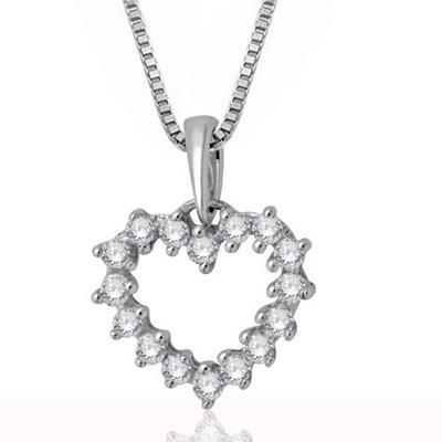 Qoo10 10k white gold heart diamond pendant necklace 14 carat 10k white gold heart diamond pendant necklace 14 carat aloadofball Image collections