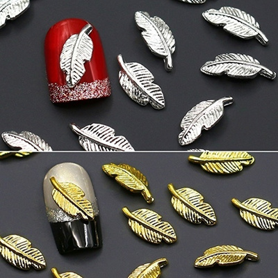 10Pcs Punk Nails Beauty Accessories 3D Leaves Alloy Studs Decal Nail Art  Sticker DIY Manicure Tips Decoration,with free gift of lipstick