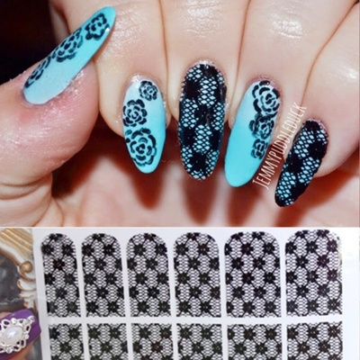 Qoo10 12pcs Nail Art Decals Elegant Black Lace Flowers Nail