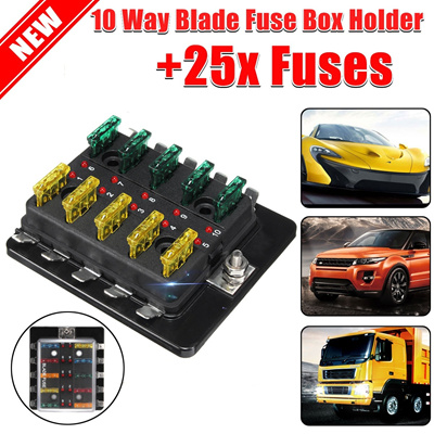 12v-32v car 10-way blade fuse connector box holder led warning light kit