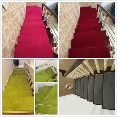 13Pc Stair Treads Mat Rectangle Non Slip Stair Rugs Stair Mats Coral Velvet  Pads Stair