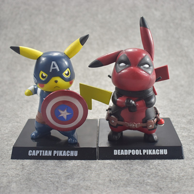 765a4388d 14CM Pikachu Cosplay Deadpool Captain America Cartoon Anime Pocket Action  Figure PVC toys Collection