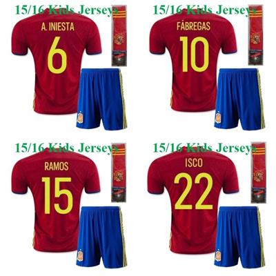 the latest d73cf 2fb9c 15/16 European Cup Spain kids Xavi ISCO A.iniesta Fabregas Silva Jersey  2016 Youth / Children Ramos