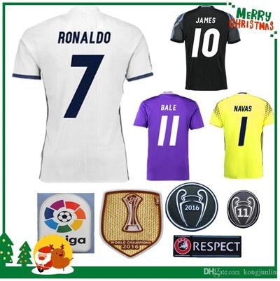 buy online 238d4 865ff 16 17 Real madrid Soccer Jersey Ronaldo Benzema Navas football Modric Kroos  Sergio Ramos Bale Marcel