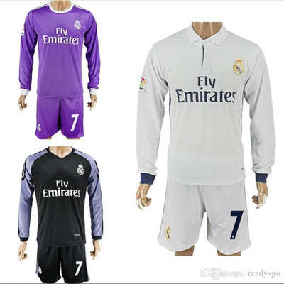 9765a5d9c 16 17 Real Madrid Soccer Jerseys Long Sleeve Shirts Sets Ronaldo Bale  Benzema 2016 Home Away