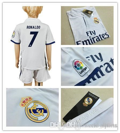 761fc6c81 Qoo10 - 16 17 Youth Real Madrid Soccer Jersey Home White Soccer Kit  7  RONALDO...   Sports Equipment