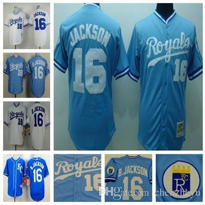 finest selection 0239c 9edc1 #16 Bo Jackson Jersey Kansas Royals Jersey Throwback Baseball Jersey White  Blue Free Shipping Top Qu