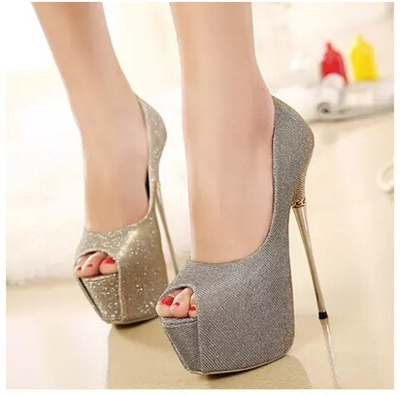 4297730ca9 16CM thin catwalk models with super high heels sexy female autumn in Europe  and America sequined sho