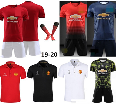 online store 36f92 8472c 18-19-20 Manchester United FC Man Utd MU season replica jersey and short  pants set/ CL polo tee