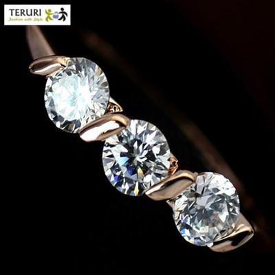 18K Rose Gold Platinum Swarovski Elements PRINCESS CUT 1 CARAT Eternity  TRILOGY Ring Rhinestone Toe Ring Earring Sale Promotion Best Gift Christmas