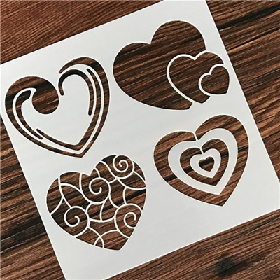 1pc 13 13cm Heart Design Reusable Flexible Art Stencils For Wall Painting Diy Scrapbooking Album Dec