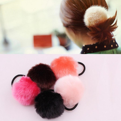 Qoo10 - 1pc girl hair accessories Artificial rabbit ball hair bands of fur  hai...   Hair Care ce75ffa30e6
