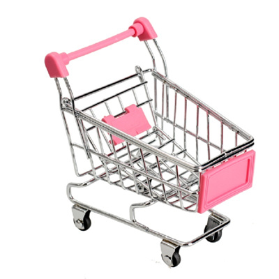 Red Mini Shopping Cart Dollhouse Miniatures Supermarket Handcart Storage