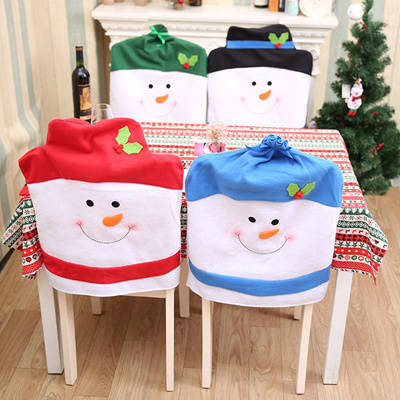 Christmas Chair Back Covers.1pcs Christmas Chair Cover Snowman Hat Chair Back Cover Christmas New Year Gift Dinner Table Home De