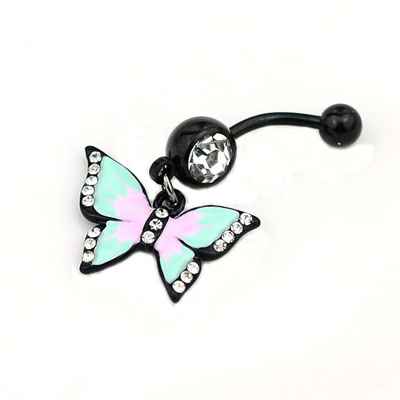Beauty Butterfly Belly Button Body Piercing Navel Ring Stainless Steel Jewelry~