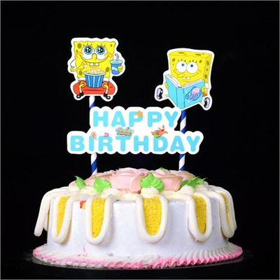 1set Diy Cartoon Spongebob Squarepants Happy Birthday Cake Topper Bunting Banner For Kids Birthday P