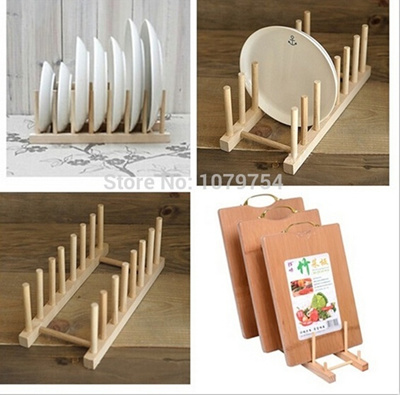 1Set Wood Kitchen Storage Rack Kitchen Utensils Dish Rack Dinner Plates  Holder DIY Holder