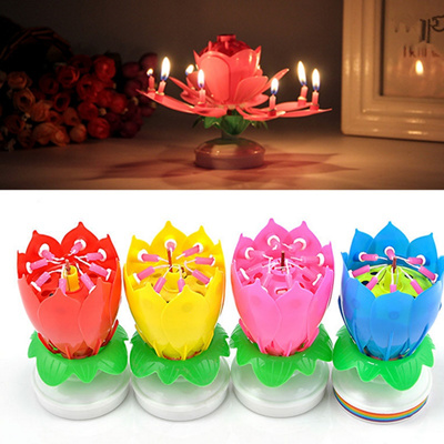 1X Romantic Musical Lotus Flower Happy Birthday Candle Music Party Decor