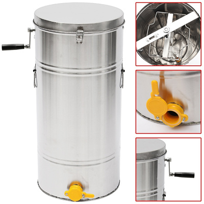2 Frame 35x74cm Stainless Steel Honey Extractor Spinner Beehive Gate Valve  Bee Keeping Squeezing