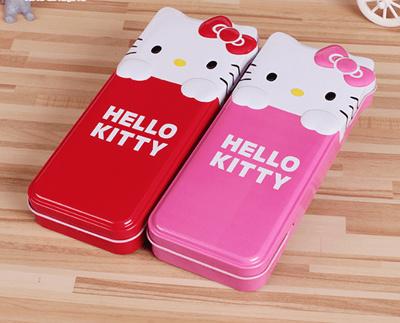 2 Hello Kitty Stationery Box Cute Cartoon Girls Pencil Tin Creative Students Double Pen