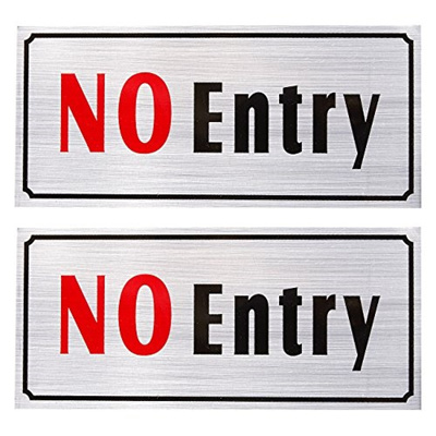 2-Pack of No Entry Signs - No Trespass Signs, Private Property Signs, Self  Adhesive, Aluminum Privac