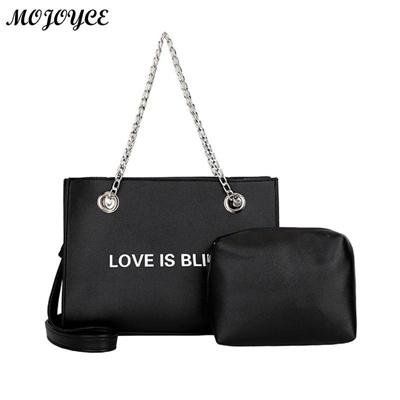 a81d79a24742 2 Pcs set Fashion Women Shoulder Bags PU Leather Chain Handbag Ladies  Casual Crossbody Bag