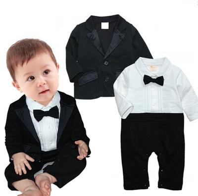 ab7f2645d20c 2-Piece Tuxedo Style Bow-Tie and Blazer Black White Smart Suit for Infant