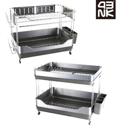 qoo10 2 tier stainless steel kitchen drying rack dish drainer drying rack ut kitchen dining. Black Bedroom Furniture Sets. Home Design Ideas