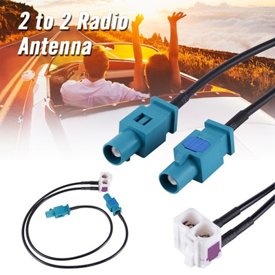 2 to 2 Radio Antenna Aerial Adapter Cable for VW Skoda MFD3 RCD510 RCD310  RNS510 MA893 (Size: 29 g)
