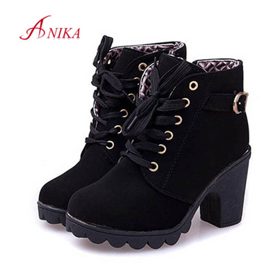 f47a3940e44d Qoo10 - 2015 Women leather boots ladies thick heel high heel Ankle Boots  fashi...   Men s Bags   Sho.