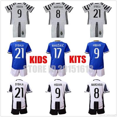 sale retailer 2d923 4ea6e 2016 2017 Kids Juventus Youth Jersey Juventus Soccer Jersey Home Away  Higuain Chiellini Dybala Pjaca