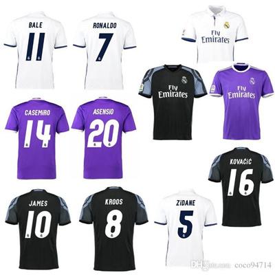 on sale efc08 8fec8 2016 2017 Reals Madrids soccer jerseys 16 17 jerseys Ronaldo jersey BENZEMA  MODRIC BALE LUCAS V KROO