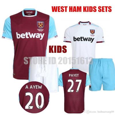 pretty nice 99bbc 74c8a 2016 2017 Youth West Ham United Kids Soccer Jersey Sets CARROLL PAYET  ZARATE KOUYATE TIWFC COMMEMORA