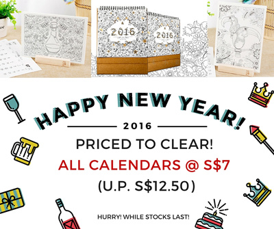 2016 Desktop Colouring Calendar With Wooden Stand Adult Book Secret Garden XMAS