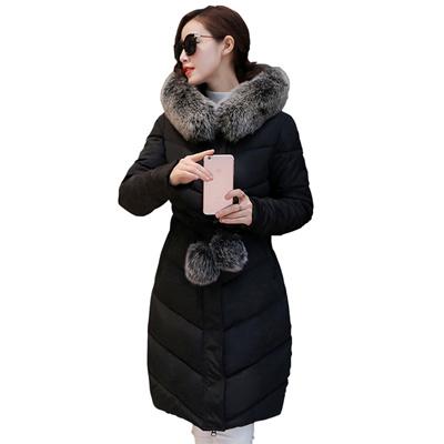 31ca51eabb 2016 Down Parkas Winter Jacket Women Cotton Padded Thick Ultra Light Long Coat  Faux Fur Collar