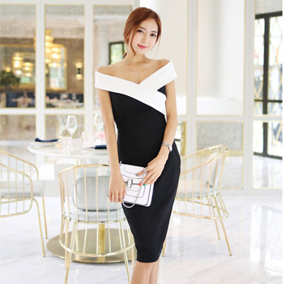 2016 Korean Sexy Neck Dress Summer Dinner Party Black And White Mosaic Bag Hip