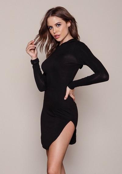fd0d8ddaaf9 2016 New Fashion Black Side Slit Long Sleeve Hooded Dress Arc Split Dress