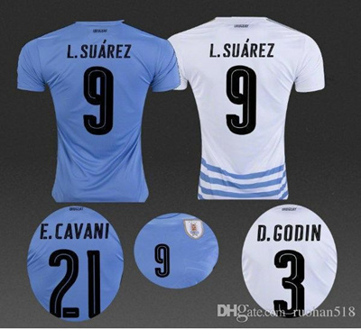 sports shoes d79d3 e389a 2016 New URUGUAY soccer jersey 16 17 SUAREZ home D.GODIN E.CAVANI top  quality URUGUAY football shirt