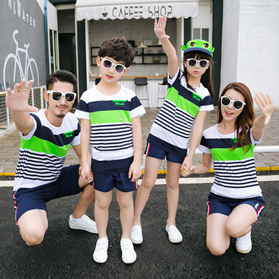 b4d75c9cb38f 2017 Cartoon Family T-shirts  Couple suits women shorts Men T-