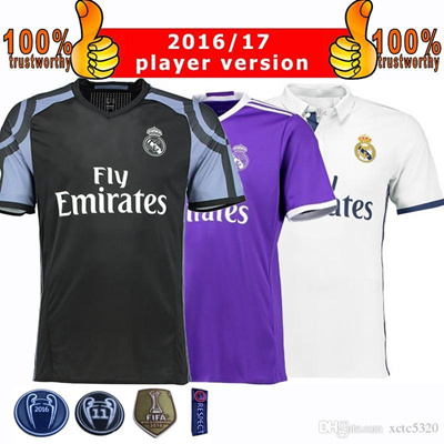 a0c6c46eb 2017 Champions League Player Version Soccer Jersey 2016 17 Real Madrid Home  Away 3rd Soccer